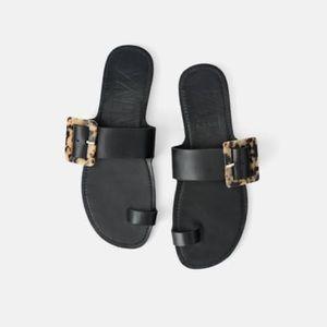 Zara Flat Black Buckle Sandal 7
